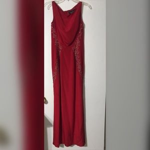 Fire red Prom Dress / Evening gown with beading